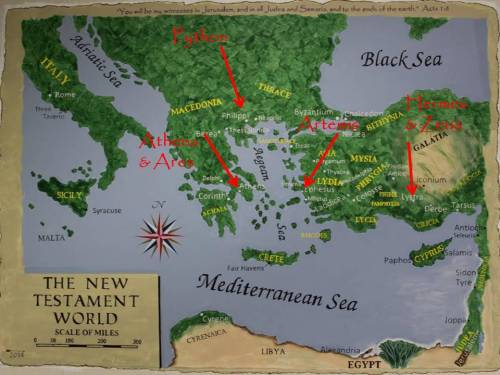 Map of Greek Gods in NT